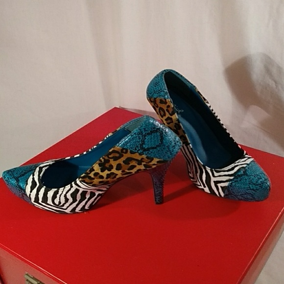 Qupid Shoes - Qupid Shoe TealBlack Snake Fabric